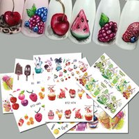 Wholesale Nails Art Ice Cream - 18pcs Sweets Ice Cream Summer Nail Sticker Mixed Colorful Fruit DIY Water Decals Nail Art Decorations Manicure Tool TRSTZ471-488