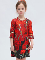 Wholesale Middle Child Clothing - New Spring Big Girls Princess Dress Child Carnation Flower Jacquard Dress Middle Sleeve Cotton Children Clothing Kids Dresses Red 11266