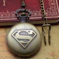 Wholesale superman stainless watch resale online - black classic superman watch vintage pocket watch necklace Men Women antique models Tuo table watch PW029