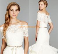 Wholesale Lace Wedding Dress Coats - 2015 Custom Made White Bridal Bolero Bateau Off The Shoulder Lace Bridal Jacket Wedding Dress Coat Short Sleeve Free Shipping Ivory