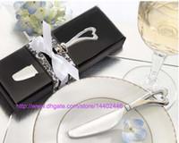 Wholesale Butter Knife Wedding Favors - 50pcs Spread The Love Chrome Heart-Shaped Heart Shape Handle Spreaders Spreader Butter Knives Knife Wedding Gift Favors