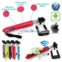 zoom à distance achat en gros de-Par DHL 100pcs Sans fil bluetooth Selfie Stick Zoom Télécommande Caméra Monopied pour SAMSUNG Android Phone IOS Apple iphone 6 plus