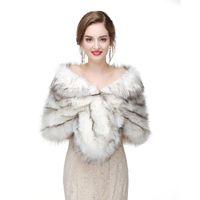 inverno nupcial do xaile venda por atacado-2017 Nupcial Wraps Bolero Faux Fur Para O Casamento Festa À Noite Prom Jacket Casaco de Inverno de Pele De Xale Branco casamento