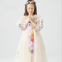 Wholesale Show Girls Dresses - High Quality Children Clothing Girl Flower Princess Dress Kids Show Dresses TuTu Dresses Girl Party Dress Wedding Dresses D1D653