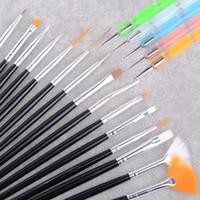 tırnak sanat yeni fırça toptan satış-Çok yeni! 2014 Beyaz 20 adet Profesyonel Tırnak Sanat Fırça Seti Tasarım Boyama Kalem Mükemmel araçları için doğal b4 SV002093