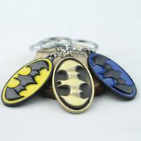 Wholesale Presents Batman Figure - 3 Colors Super Hero Bat Man Movie Theme Metal Keychains Batman Key Chains comic figure pendant Key Chain accessories Christmas Present