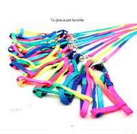 Wholesale Wholesale Rainbow Dog Collars - Free Shipping 2015 Pet Puppy Leash Multiple Walking Dog Pet Leash Training Lead Collar dacron Harness Rainbow Rope 1.0*120CM Pet Supplies
