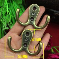 Wholesale Small Coat Hooks - 20PCS 55*41mm good quaility Antique alloy hook cabinet with metal hooks coat hooks hardware wall small hook