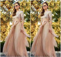 Wholesale Champange Crystal Dress - 2016 Champange Abaya Sequined Long Sleeve Evening Gowns Jalabiya Moroccan Chiffon Long Prom Dresses Arabic Wedding Party Dress BO7735
