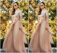 vestidos de jalabiya venda por atacado-2016 Champange Abaya Lantejoulas Manga Longa Vestidos de Noite Jalabiya Marroquino Chiffon Longos Vestidos de Baile de Casamento Árabe Vestido de Festa BO7735