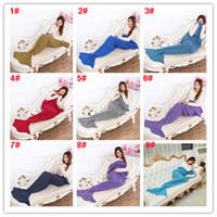 Wholesale Kids Crochet Knit Bags - Mermaid Knitting Tail Blanket 16 Colors 90*50cm Crochet Mermaid Blanket for Adults Kids Throw Bed Sofa Wrap Sleeping Bag All Seasons