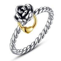 Wholesale Vintage Promise Rings - Vintage Rose S925 Sterling Silver Rings Promise Reminder Rings R012