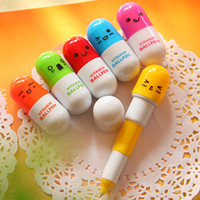 Wholesale Pill Pens - Pill Shape Retractable Ball Point Pen Vitamin Ballpen Rollerball Pens Creative Stationery Children's Gifts 6 different pattens Super Cute