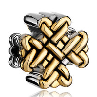 Wholesale Gold Tone Bracelet Cross - 10 pcs per lot 2 Tones Gold Silver Plated Chinese Knot Lucky Charms European Bead Spacer Fit Pandora Bracelet