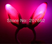 Wholesale Clip Bunny Ears - Free shipping 24pcs lot 3mode led sexy pink light up Flashing bunny ears rabbit ear hair clip hair claw clip hair circle