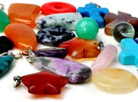 Wholesale Mixed Natural Stone Necklaces - 50Pcs Lot Wholesale Jewelry Natural Stone Pendants Mix Style Fashion Point Pendants Charms Pendant Teardrop Opal Necklaces [N56*50]