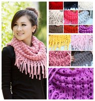 Wholesale Acrylic Circle Scarves - MIC New 13colors Fashion Girl Womens Winter Knit Infinity Circle Scarf Wrap Scarves Tassels 100cm 11colors