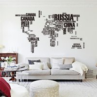 Wholesale World Map Wall Art Decals - black letters world map wall stickers living room office home decorations 95ab diy creative pvc decals mural arts babys gift 3.0