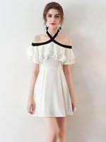 Wholesale Chiffon Party Mini - 2017 Homecoming Dresses A Line Halter Off Shoulder Mini Cocktail Party Dresses With Chiffon Ruffles Short Prom Dresses Custom Made