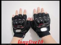 Wholesale Black Fingerless Biker Gloves - Wholesale-Pro-Biker Fingerless Motorcycle Protection Gloves Bicycle Gloves BLACK L