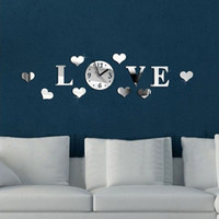 Wholesale Word Wall Clocks - DIY Love Word Pattern Design Wall Stickers Clocks 3D Crystal Mirror Living Room Home Modern Decoration Wall Sticker Clock