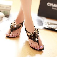 Wholesale Cheap Strap Sandal Heels - Women Flip Flops Bohemian Summer Sandals Shoes Crystals Shiny Luxury Gem Beading Low-heeled Wedge Sandals Black Cheap