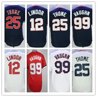 Wholesale Dry Goods - 2017 Baseball Jerseys Cheap 12 Francisco Lindor Cleveland Blue White Grey Throwback 99 Ricky Vaughn 25 Jim Thome Shirts Good Quanlity