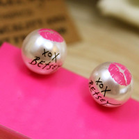 Wholesale Red Lip Studs - 25pairs lot Women Girls Fashion Jewelry Round Faux Pearl Red Lip Printed Ear Stud Earrings 2X MHM234