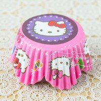 Wholesale Muffin Cases Free Shipping - Wholesale 500pcs lot Hello Kitty Cartoon Muffin Cupcake Wrappers liners Baking Cups Cases Height: 32mm,Base: 50 mm Free shipping