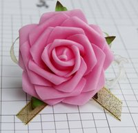 Wholesale Pink Wrist Flowers - 8cm Wrist Flower Rose Silk Ribbon Bride Corsage Hand Decorative Wristband Bracelet Bridesmaid Curtain Band Clip Bouquet G1130