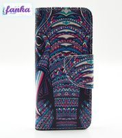 Wholesale Elephant Design Cases - For iPhone 5G 5S 6 6s 7 Samsung Galaxy S7 Custom Design Elephant Face Colorful printing Leather Stand Wallet Magnet Case