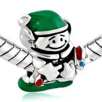 Wholesale Pandora Hat - Green Color Enamel Merry Christmas ELF with Green Hat European Charm Bead Fit Pandora DIY Bracelet