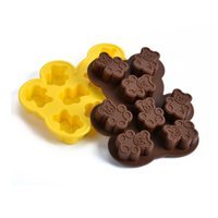 Wholesale Bear Cake Molds - 7 Black bear cake mold creative FDA silicone cake mold baking tools for cookie ices chocolate tray molds