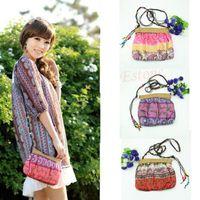 Wholesale Straw Handbags Wholesale - Wholesale-Boho Bohemia Exotic Floral Straw Weave Strap Cloth Handbag Beach Messenger Bag-PY