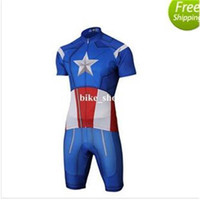 Wholesale Superman Lycra Tops - 2015 New Superman Spider Man, Iron Man Cycling Jersey Sets in fall with long sleeve bike top & (bib) pants in cycling clothing, bicycle wear