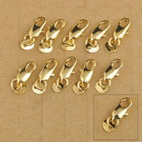 Wholesale Gold Necklace Lin - Wholesale-24Hours Free Shipping 20Pcs 18K Yellow Gold Filled Lobster Clasp GF Connecter Lin Jewelry Necklace Bracelet 18KGF Stamped Tag