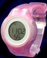 Atacado-DW363A Round White Watchcase Relógio Silicone Banda Pink Ladies Mulheres Digital Watch