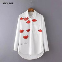 Wholesale Blouse Lips - 2017 Women Euro Red Lips Print Blouse Turn-Dow Collar Asymmetric White Shirt OL Fashion Character Blouse Tops For 4 Season