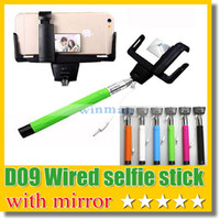 Wholesale Stainless Steel Smartphone - D09 Wired Selfie Monopod with rear mirror Selfie sitck + Clip Holder built-in remote button for iPhone 6 plus IOS Android Smartphone
