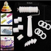 Wholesale Cake Flour Ribbon - TS Designer New Fondant Cake Flour Sugar Ribbon Cutter Embosser Decorating Tool Set ST
