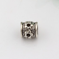 Wholesale Tubular Jewelry - Hot ! 100pcs Antique Silver Alloy Tubular Carved designs Large Hole Bead Fit European Beads Bracelet DIY Jewelry 8.5x8.5mm