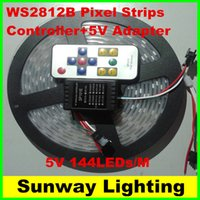 Wholesale Ws2812b Led Strip - 5M 720 Pixels Individually Addressable Color WS2812B 5V 5050 SMD RGB WS2811 LED Strip White FPC 144 LED M + RF controller+ 200W adapter