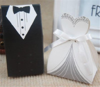 Wholesale Sweet Paper Doll - Wedding Bride and Groom Dress Box Wedding Box Lovely Candy and Decoration Box Sweet Candy Box