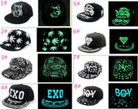 Wholesale Kpop Sale - Fashion Designer Luminous Night Glow Caps Adjustable Snapbacks Hip Hop Hats Toronto Baseball Cap Strapback Diamand Kpop Party Sun Visor Sale