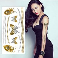 Wholesale Tattoo Sleeve Stencils - Wholesale-Butterfly & Feathers Style Tattoo Stickers Stencils For Painting Body Sleeve Hand Art Temporary Glitter Metal Golden Tattoos