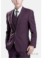 Wholesale Plum Tie - Custom Made One Button Groom Tuxedos Notch Lapel Men's Suit Plum Groomsman Best Man Wedding Dinner Suits (Jacket+Pants+Tie+Vest) J908