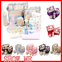 Wholesale Bebe Diaper Bags - 5 Pcs Mother Bag Baby Bags Multifuctional Mummy Babies Diaper Bags Stroller bolsa de bebe Waterproof Zip Bagcarrinhos de bebe
