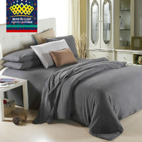 Wholesale Quilts Queen Beds - Wholesale-Wholesale Dark Grey Pure Solid Bedding King Queen Twin Size Male Quilt Cover Sets Bed Sheets Set Pillowcases