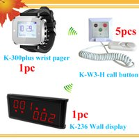 Wholesale Hospital System - Hospital nurse paging system with nurse panel and wrist watch and 5 nurse call button DHL free shipping free