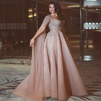 Wholesale arabic luxury dresses - Shining Luxury Beads Crystals Long Evening Dresses Said Mhamad 2018 Newest Party Prom Celebrity Gowns Floor Length Arabic Dresses with Cape